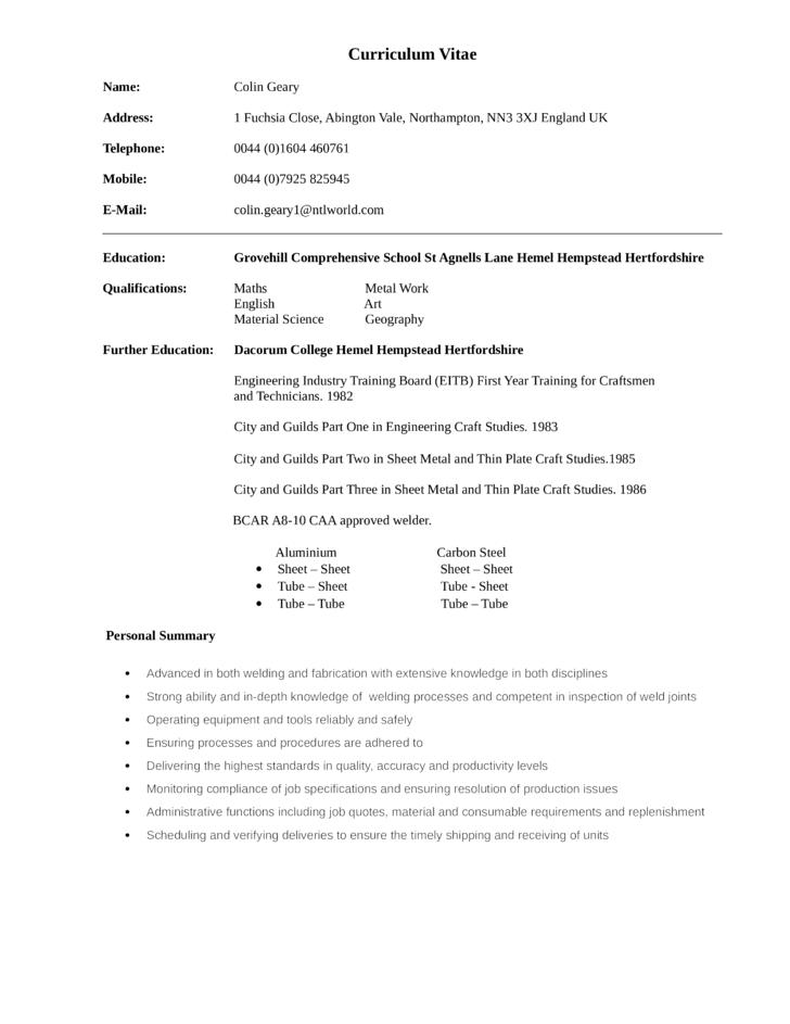 modern welder fabricator resume template
