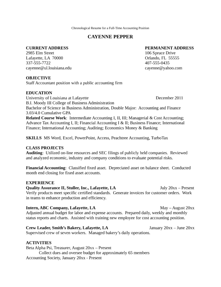 Good One Page Accountant Resume