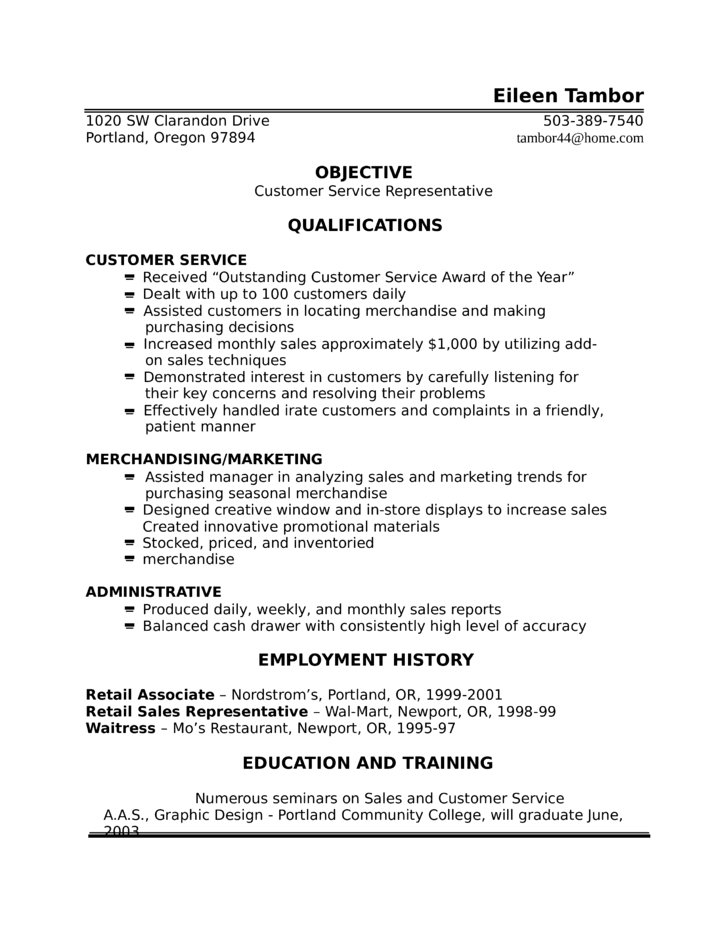 one page customer service representative resume