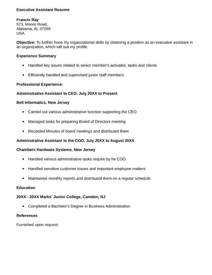 one page executive assistant resume template