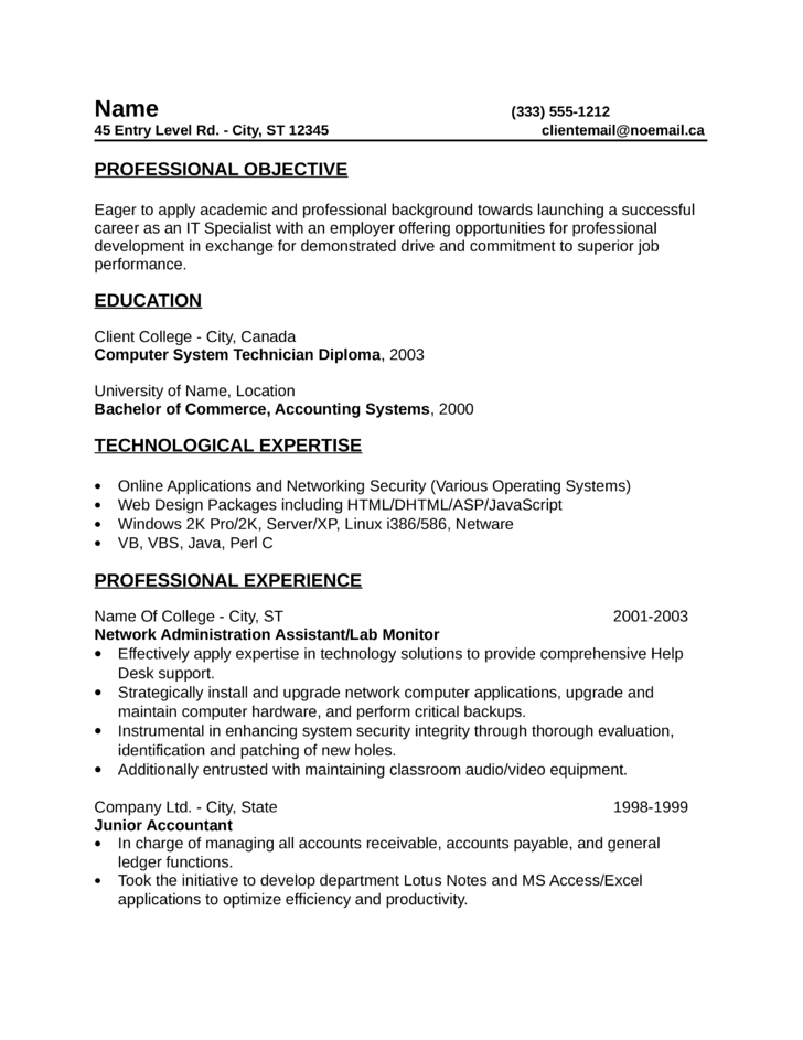it specialist cv template - one page it specialist resume template