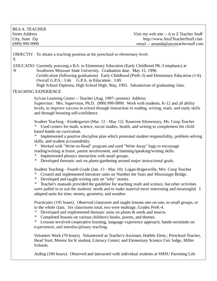 one page kindergarten teacher resume template