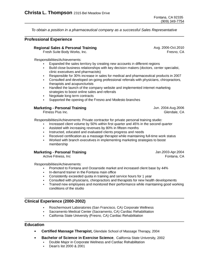 One Page Pharmaceutical Sales Representative Resume Template