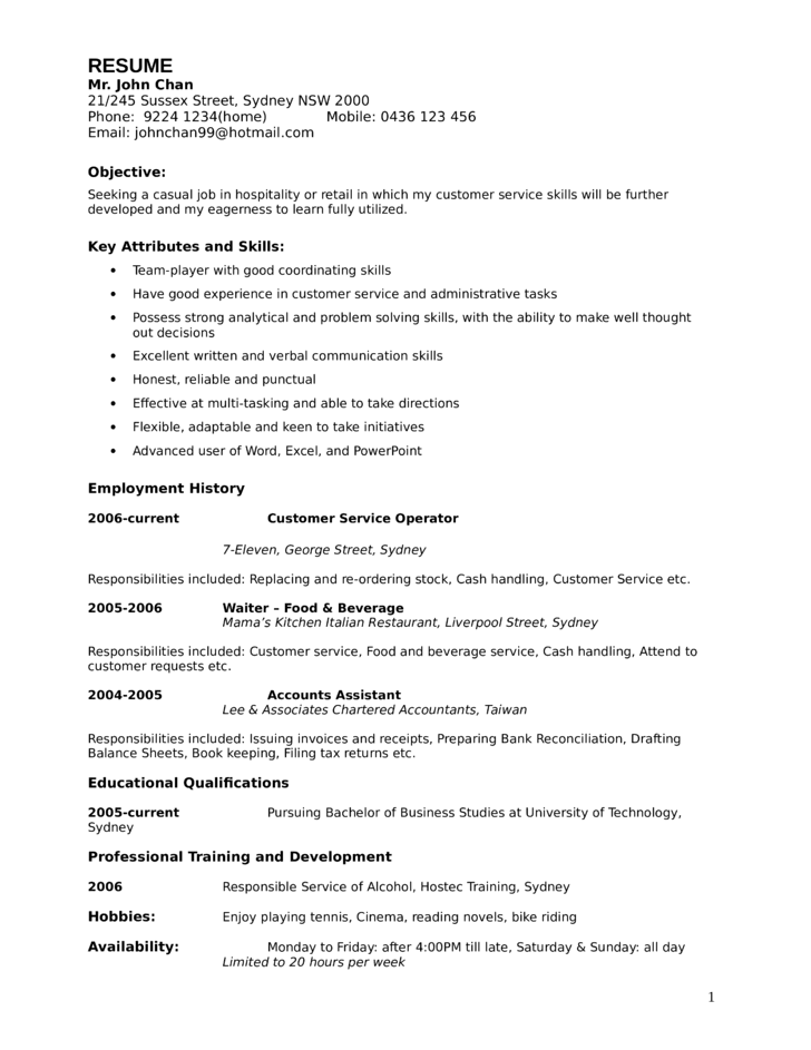 one page retail customer support representative resume template