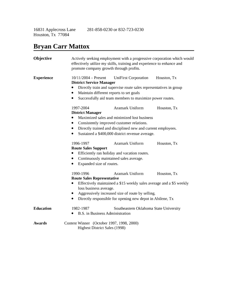 one page route sales representative resume - Sales Representative Resume Sample