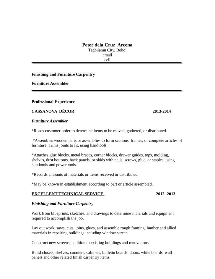 portfolio carpenter resume template