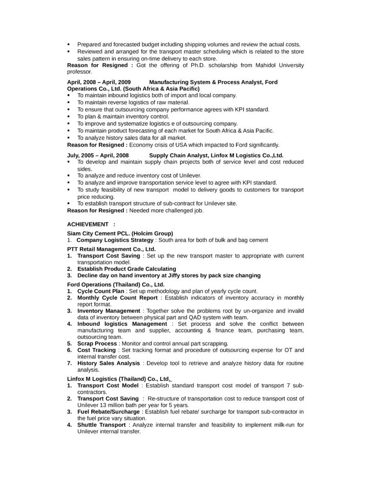 portfolio logistics analyst resume template page 2