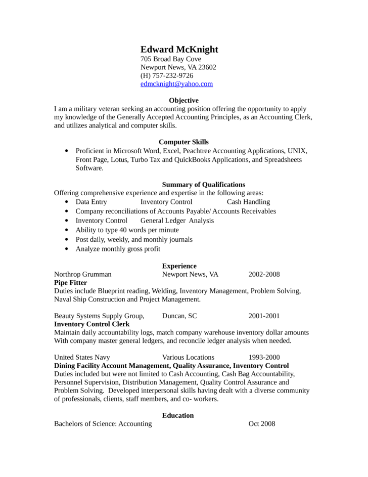 professional accounting clerk resume - Accounting Clerk Resume