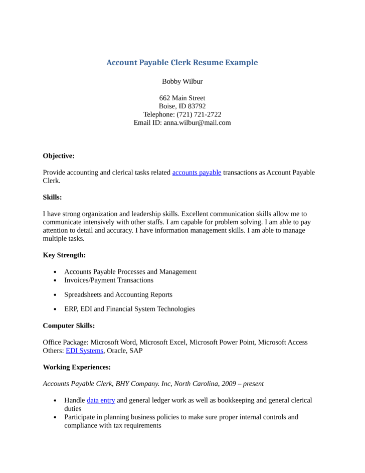professional accounts payable clerk resume templateprofessional accounts payable clerk resume