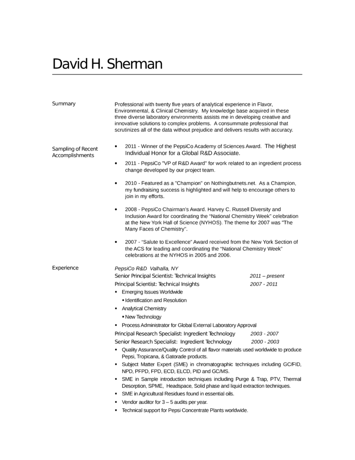 professional analytical chemist resume template
