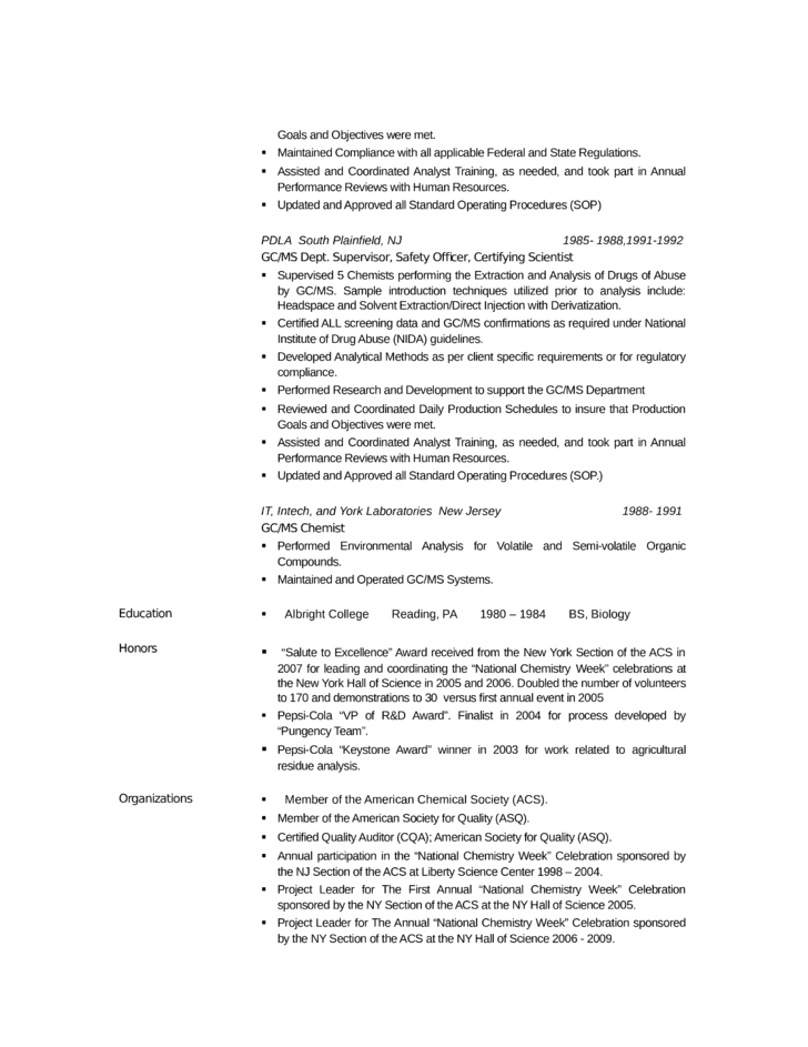 professional analytical chemist resume template page 3