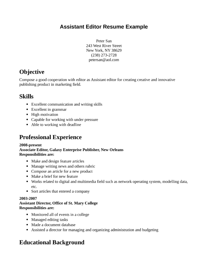 assistant editor resume