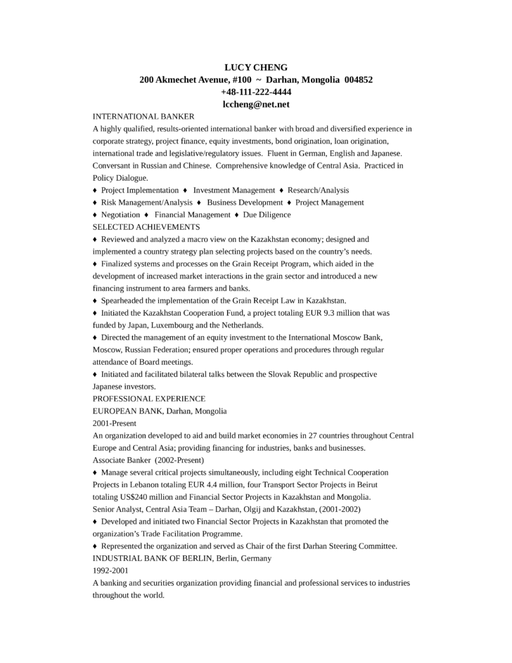 Professional Banker Resume Example