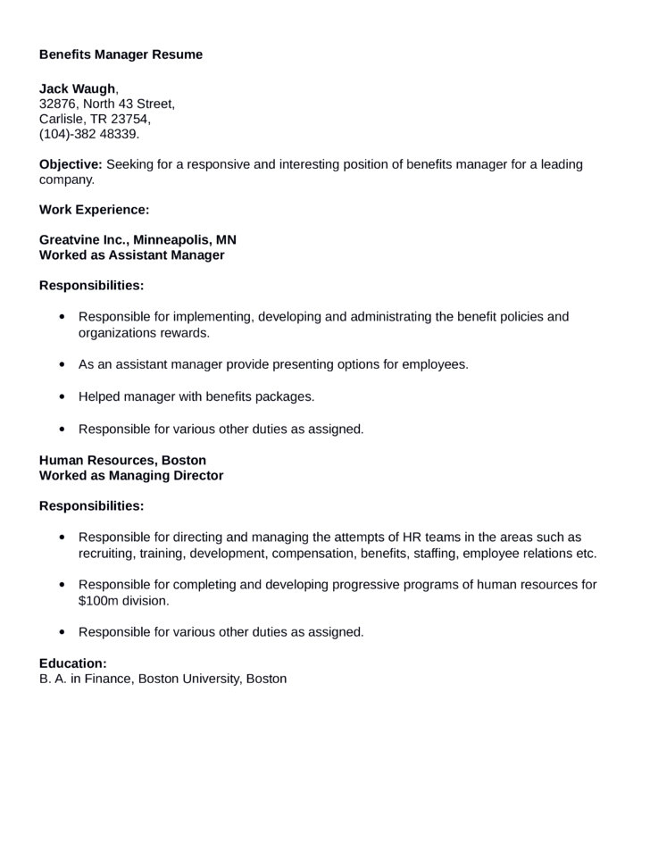 Compensation and benefits manager sample resume