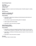 Professional Benefits Manager Resume