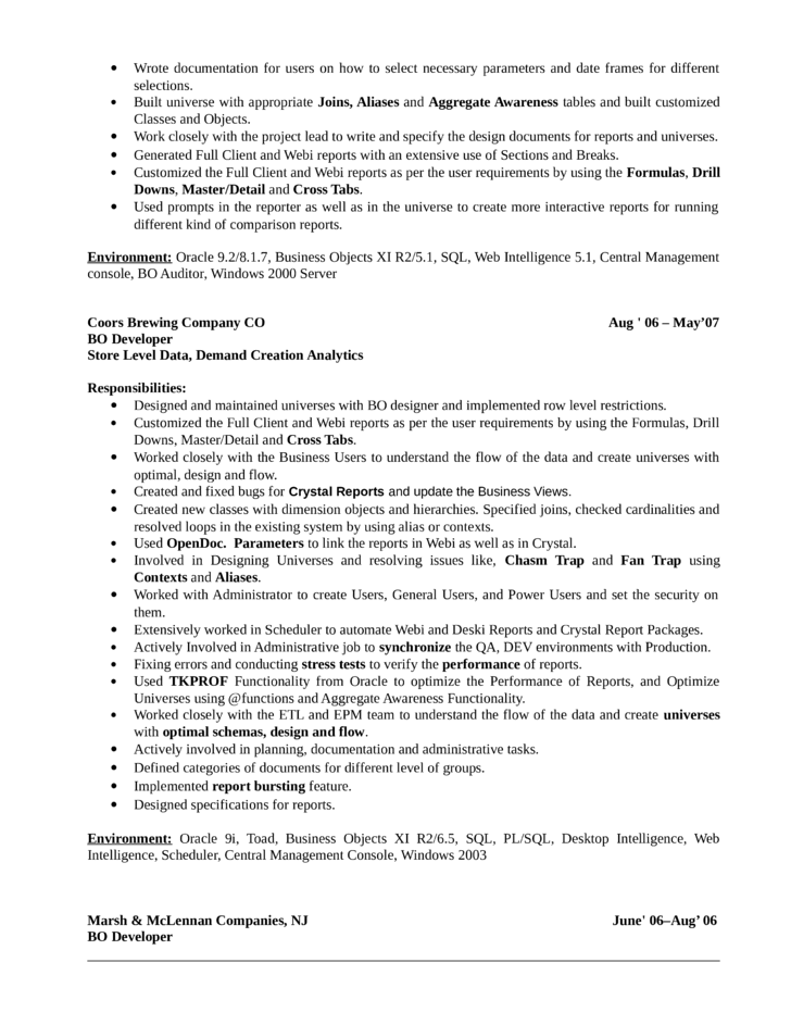 business objects developer resume professional business objects - Pl Sql Developer Resume