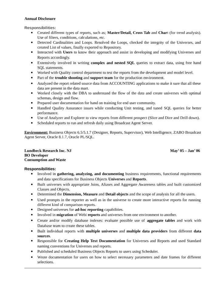 professional business objects developer resume page4 - Business Object Resume
