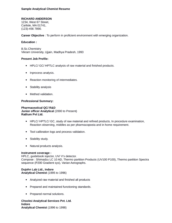 Chemist Resume Samples VisualCV Resume Samples Database  Analytical Chemist Resume