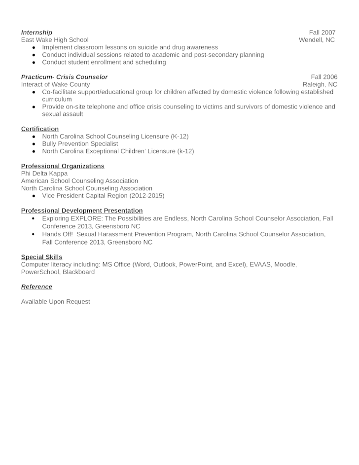 professional counselor resume template page 2