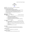Professional Customer Service Manager Resume