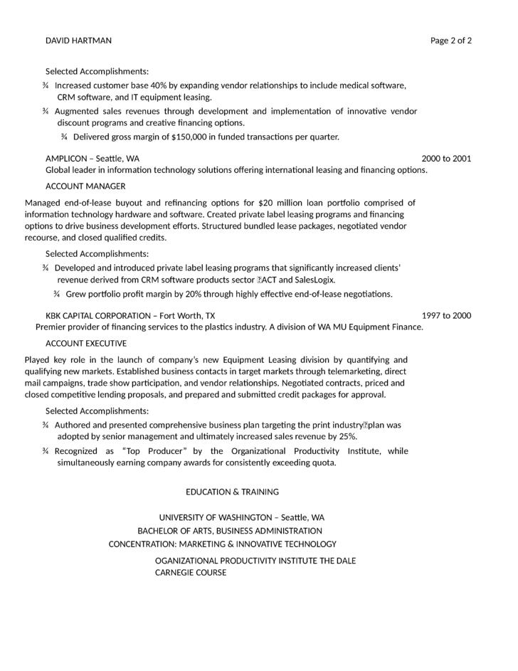 director of business development resume - Business Development Resume