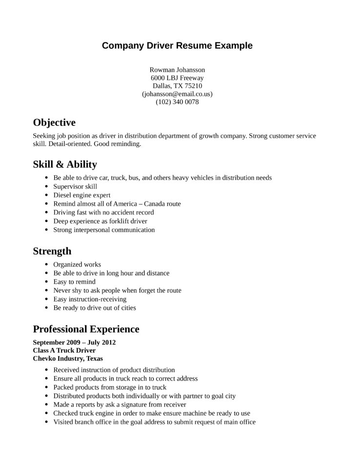 professional driver resume template