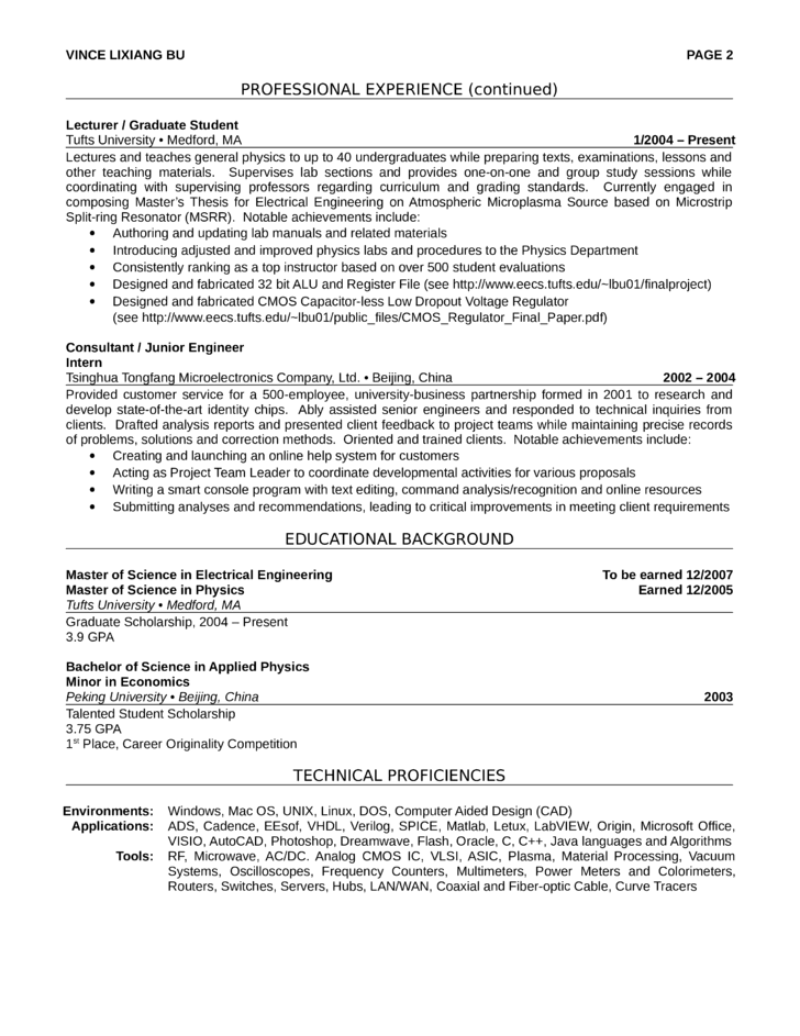 professional electrical engineer resume template  page 2