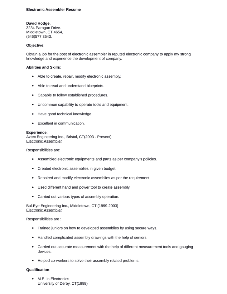 sample resume for electronics assembler medical device