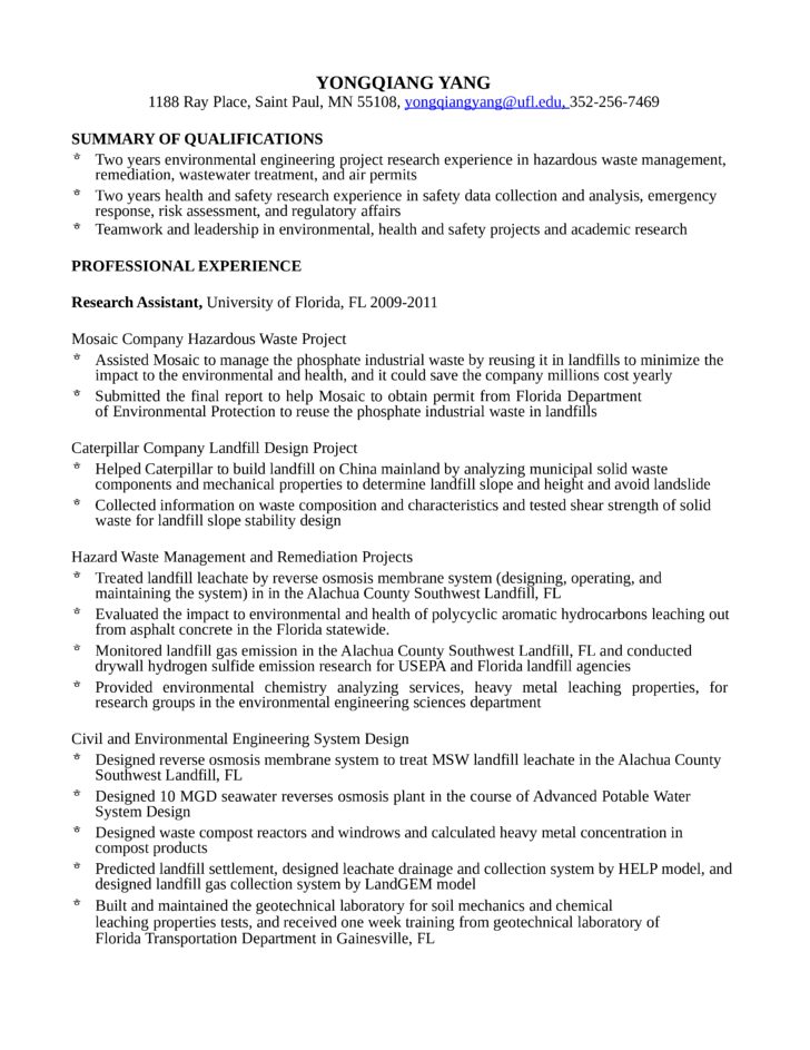 professional environmental engineer resume - Regulatory Affairs Resume Sample