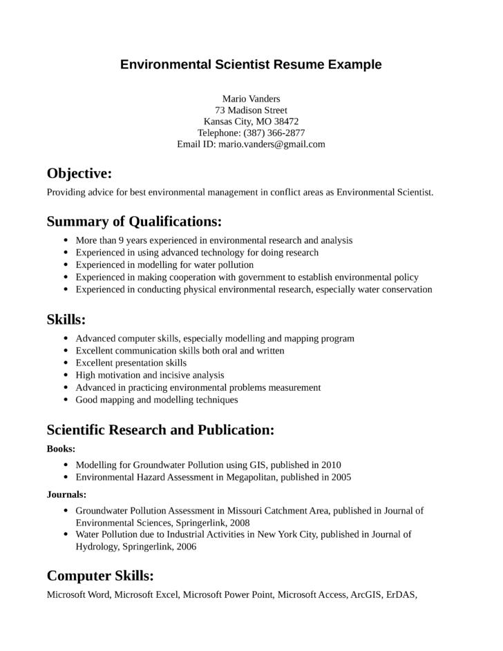 professional environmental scientist resum template