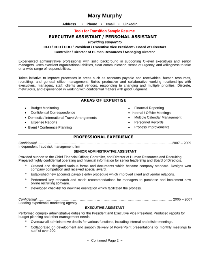 professional executive assistant resume template