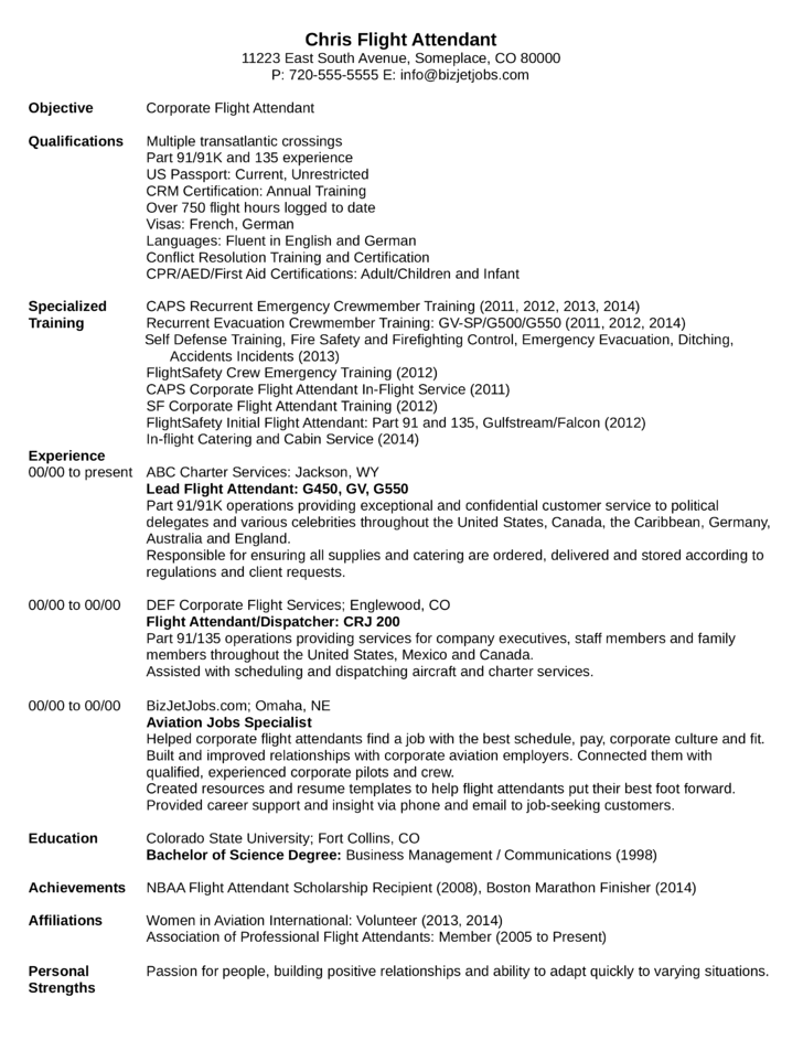 professional flight attendant resume - Flight Attendant Resume Template