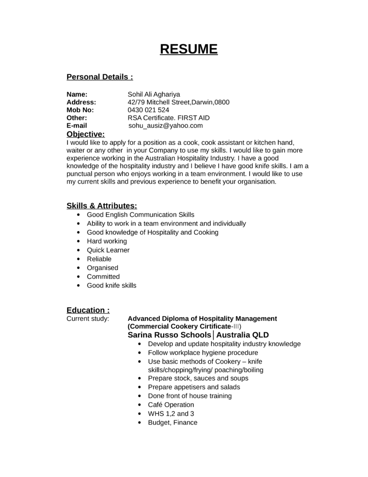 professional grill cook resume - Resume Sample For Cook