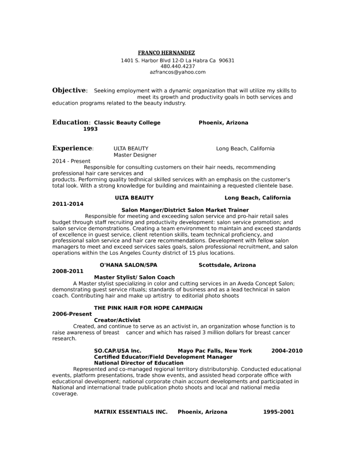 salon manager resume - Gidiye.redformapolitica.co