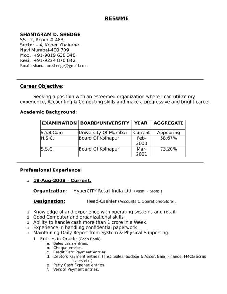Professional Head Cashier Resume