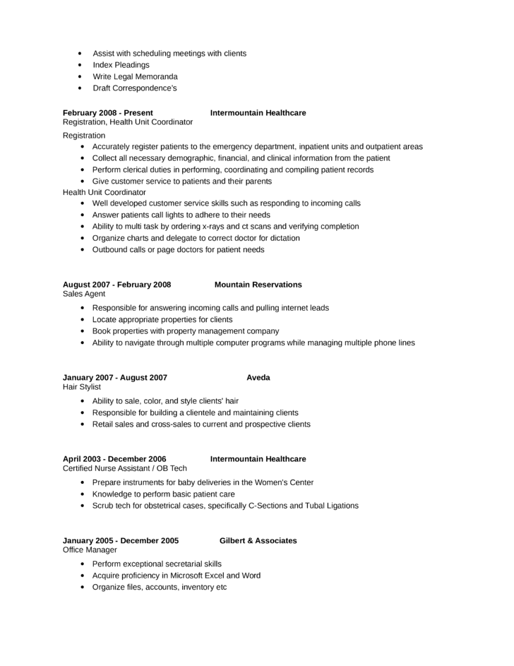 Professional Health Unit Coordinator Resume Page2