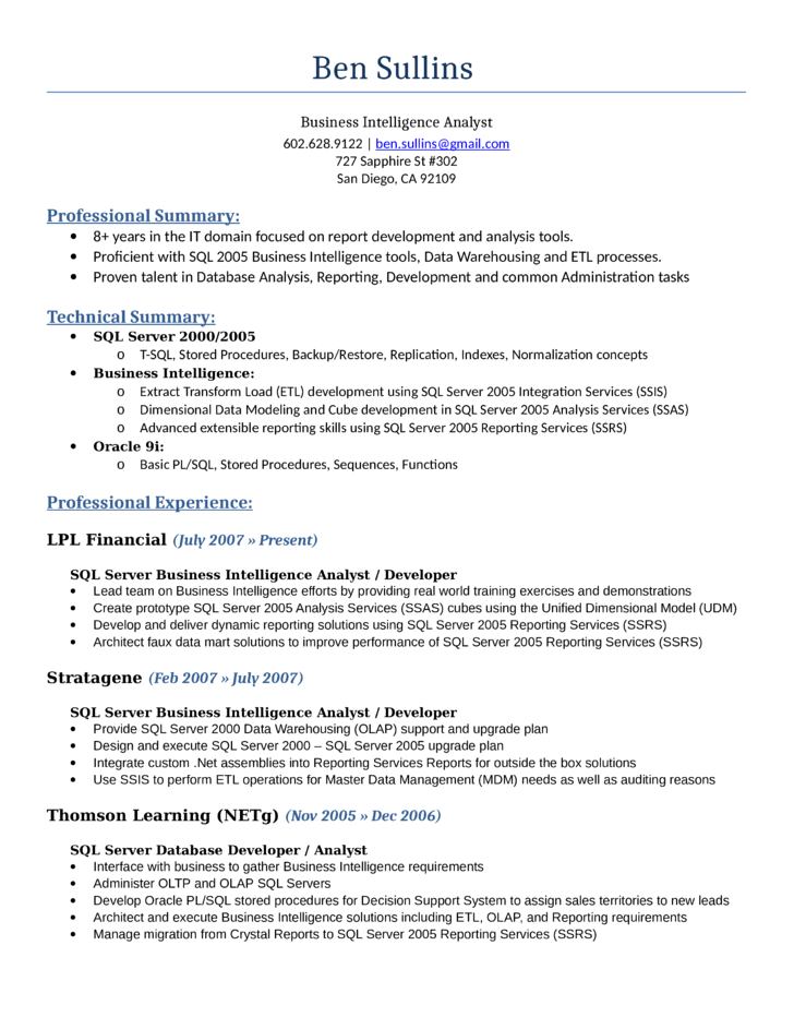 professional intelligence analyst resume template
