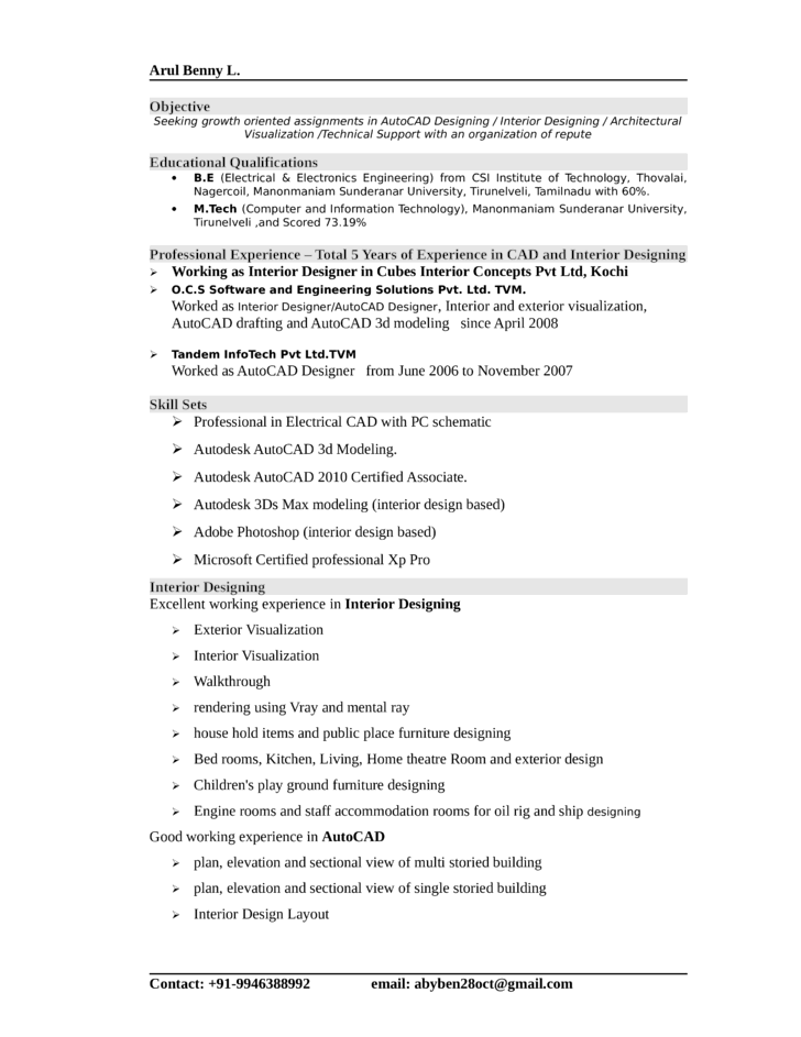 professional interior designer resume template