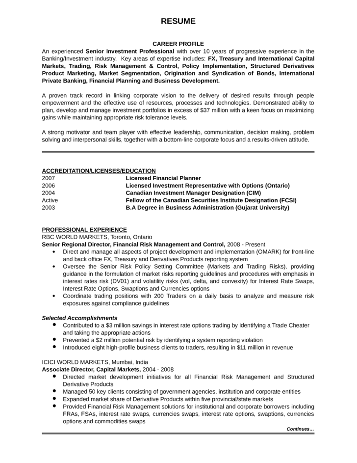 Investment analyst sample resume