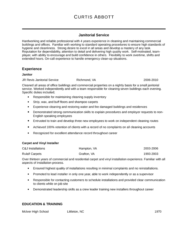 Professional janitor resume template for Office junior job description template