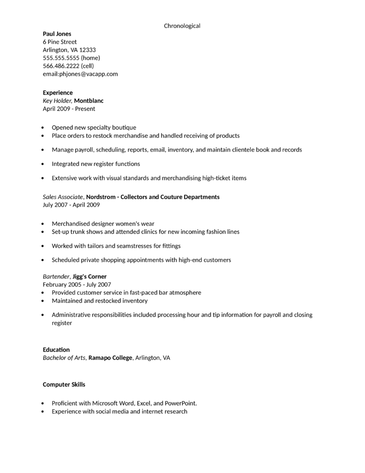 Resume Examples For Retail Key Holder