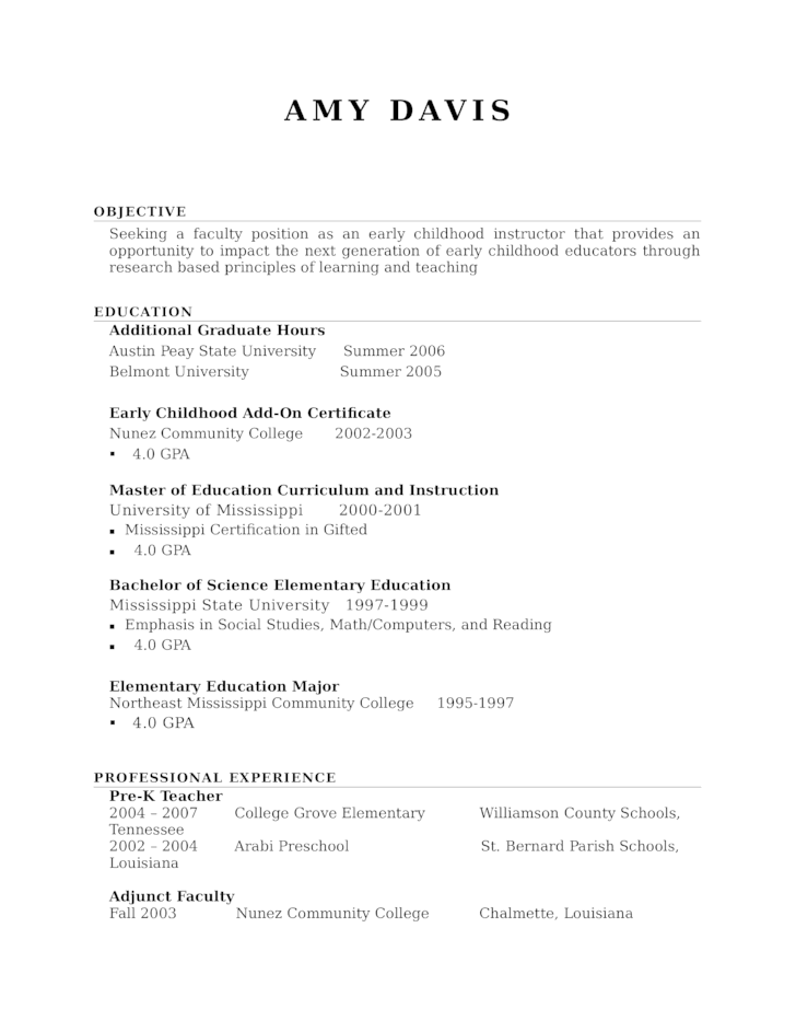 professional kindergarten teacher resume