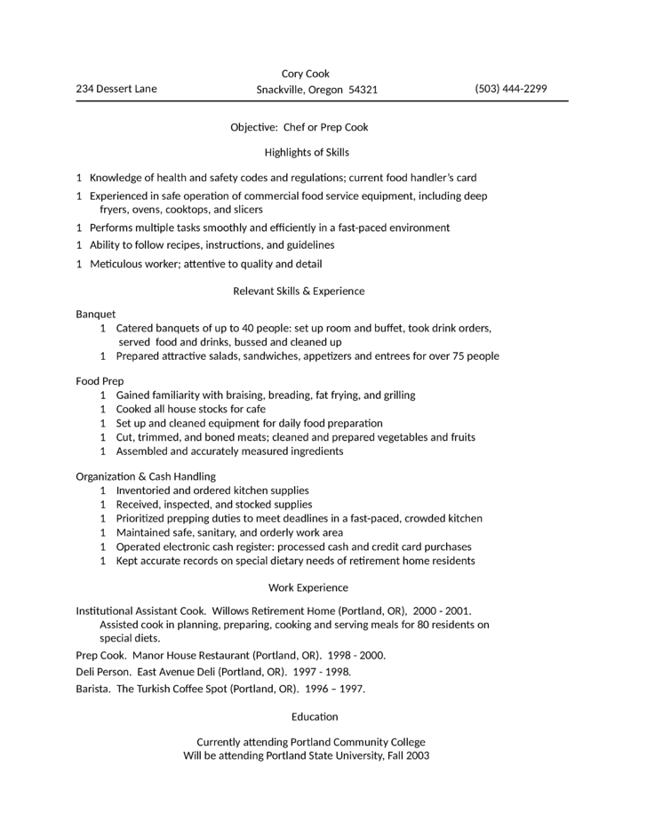 Professional Kitchen Assistant Resume Template