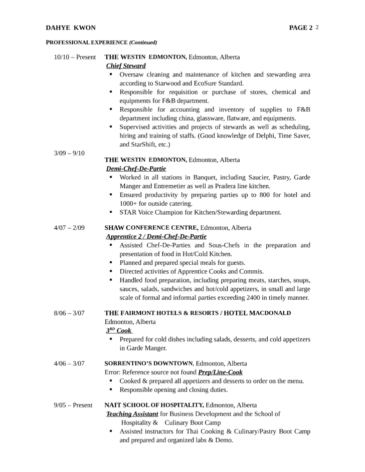 Sample Kitchen Steward Resume
