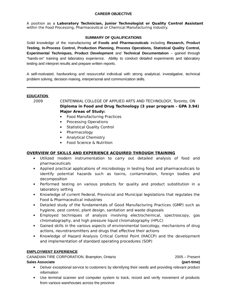 Professional Lab Technician Resume  Laboratory Assistant Resume
