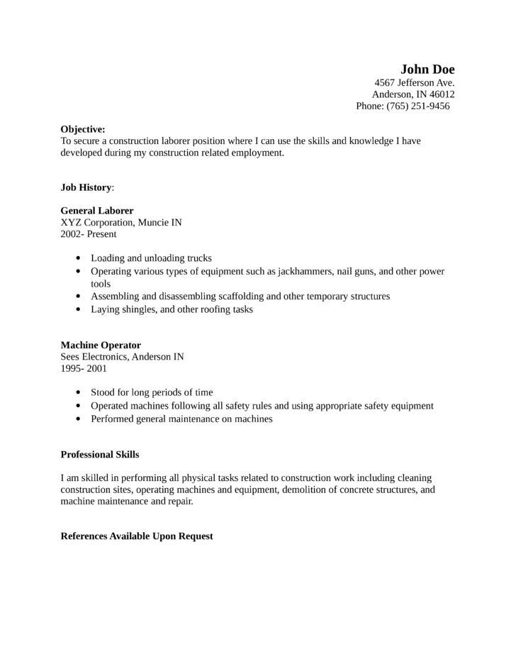 Professional Laborer Resume Template .  General Labor Resume