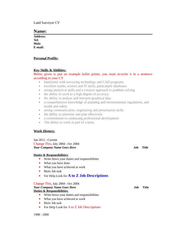 Professional Land Surveyor Resume