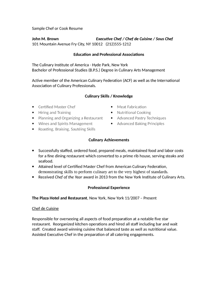 Professional Line Cook Resume Template