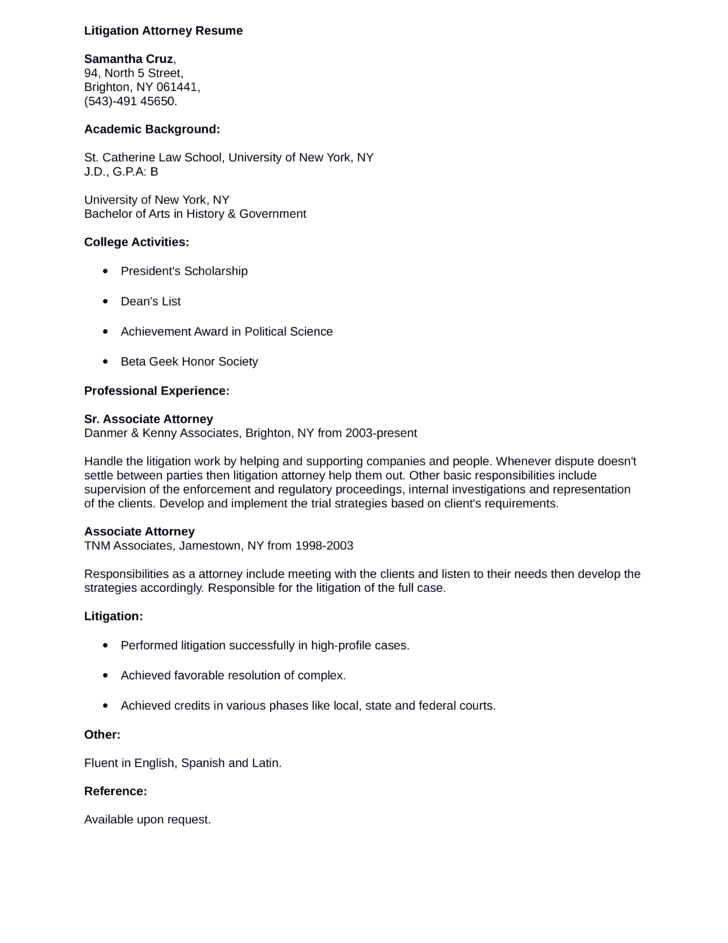 professional litigation attorney resume example - Associate Attorney Resume