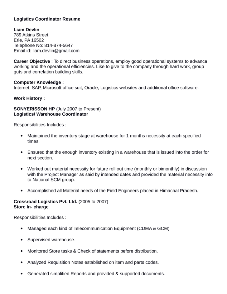 professional logistics coordinator resume - Coordinator Resume